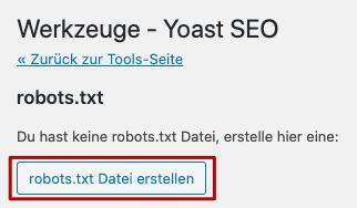 Yoast SEO robots.txt erstellen